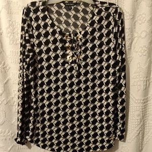 Ellen Tracy Long Sleeve Black Blouse